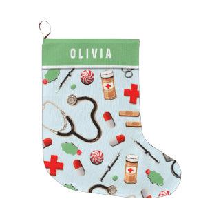 Grande Chaussette De Noël vacances personnalisées d'infirmière