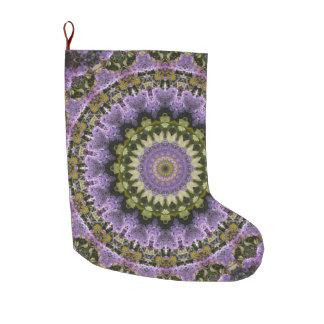 Grande Chaussette De Noël Vert et vacances florales pourpres lilas de
