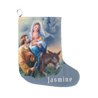 Grande Chaussette De Noël Vol en l'Egypte Jésus Mary Joseph