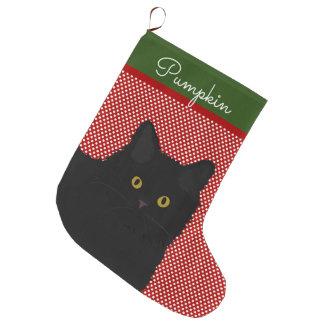 Grande Chaussette De Noël Yeux de jaune de chat noir personnalisés