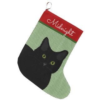 Grande Chaussette De Noël Yeux verts de chat noir de cheveux courts