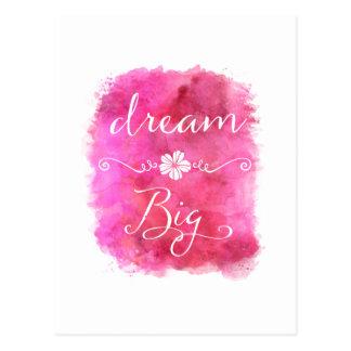 Grande citation inspirée rêveuse rose d'aquarelle carte postale