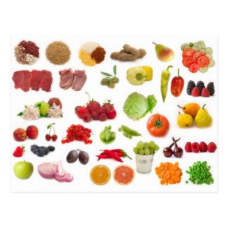 grande collection de fruits et légumes cartes postales