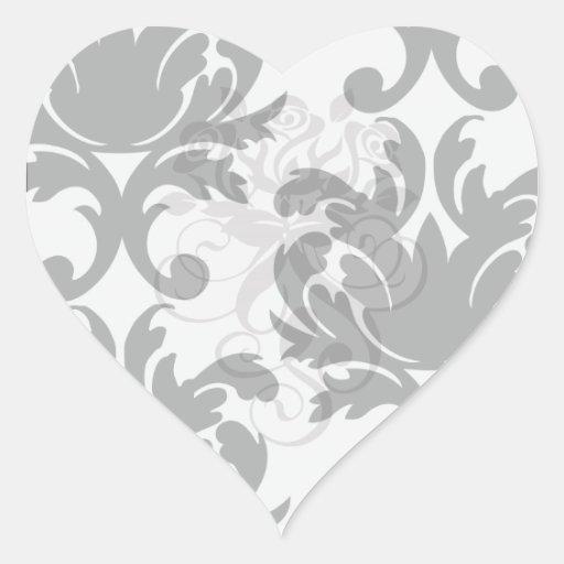 grande damassé audacieuse blanche et noire autocollant en cœur