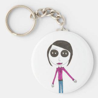 Grande fille principale de bouton porte-clés