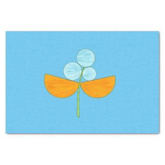 Grande fleur bleue et orange d'aquarelle papier mousseline