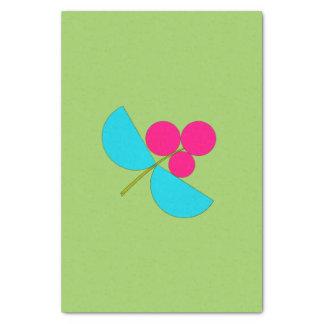 Grande fleur bleue et rose sur le vert papier mousseline