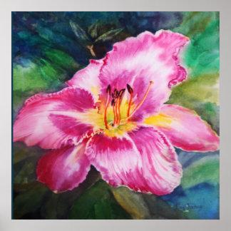 Grande fleur rose brillante poster