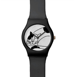Grande grosse montre somnolente de chat montres
