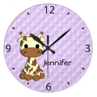 Grande horloge murale de crèche de girafe de nom