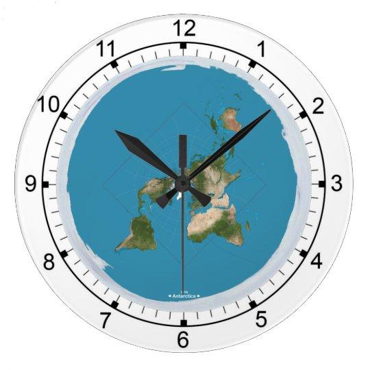 grande horloge murale de la terre plate. Black Bedroom Furniture Sets. Home Design Ideas