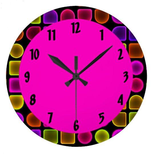 grande horloge murale d corative au n on color e. Black Bedroom Furniture Sets. Home Design Ideas