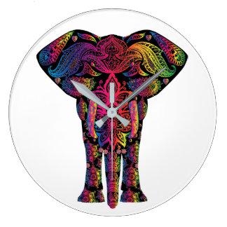 Grande horloge murale d'éléphant coloré assez