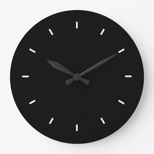 Grande horloge murale noire ronde zazzle for Horloge murale grande taille