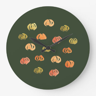 Grande horloge murale ronde de citrouille