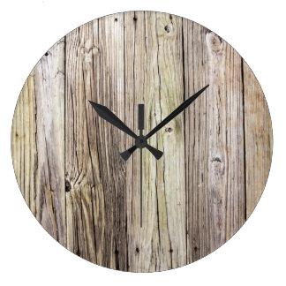 En bois afflig horloges en bois afflig horloges murales - Grande horloge murale bois ...