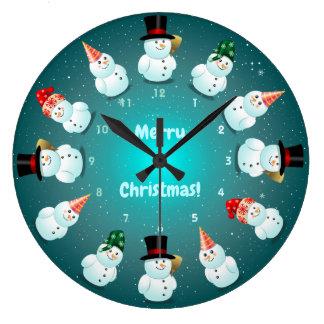 Grande Horloge Ronde 12 bonhommes de neige frais célébrant Noël