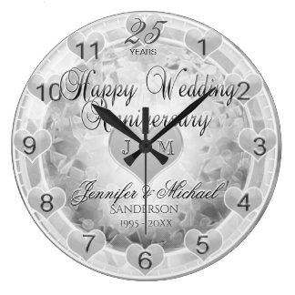 Grande Horloge Ronde 25ème Coeurs d'anniversaire de noces d'argent
