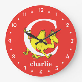 Grande Horloge Ronde ABC de Dr. Seuss's : Lettre C - Le blanc |