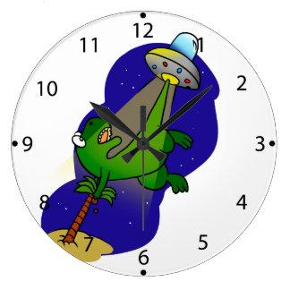 Grande Horloge Ronde Abduction de dinosaure
