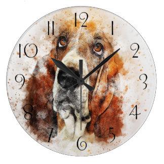 Grande Horloge Ronde Abrégé sur Basset Hound