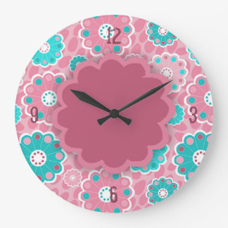 Grande Horloge Ronde Abrégé sur floral aqua rose génial