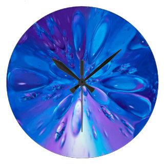 Grande Horloge Ronde Abstrait l'eau bleue d'art laisse tomber l'arrière