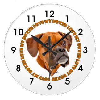 Grande Horloge Ronde Amour de chien de boxeur mon boxeur