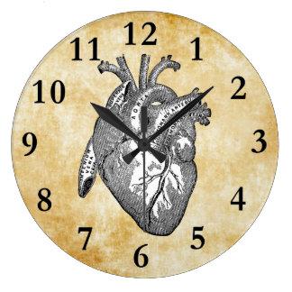 Grande Horloge Ronde anatomie vintage de coeur