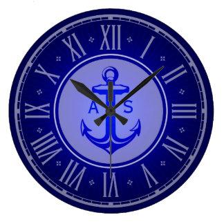 Grande Horloge Ronde Ancre bleue avec les cadeaux nautiques des