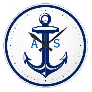 Grande Horloge Ronde Ancre de bleu marine avec les cadeaux nautiques