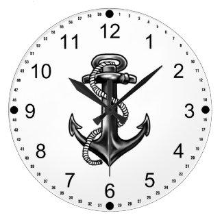 Grande Horloge Ronde Ancre et corde de marine