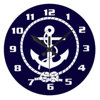 Grande Horloge Ronde Ancre nautique classique et élégante fraîche