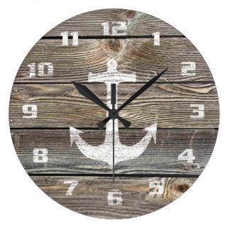 Grande Horloge Ronde Ancre rustique en bois semblante authentique