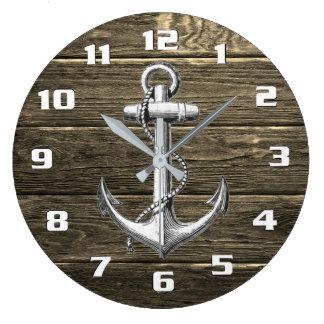 Grande Horloge Ronde Ancre vintage nautique en bois patinée rustique