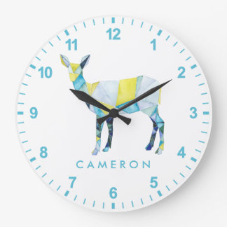 Grande Horloge Ronde Animal géométrique de cerfs communs