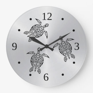 Grande Horloge Ronde Animal tribal de noir de tatouage de tortues