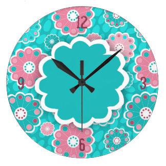 Grande Horloge Ronde Aqua génial et résumé floral rose