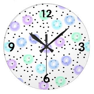 Grande Horloge Ronde Aquarelle Funfetti - hiver Frost