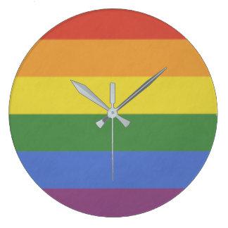 Grande Horloge Ronde Arc-en-ciel d'horloge murale
