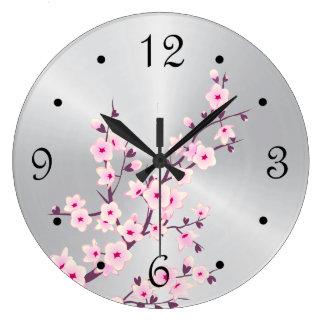 Grande Horloge Ronde Argent rose de fleurs de cerisier florales