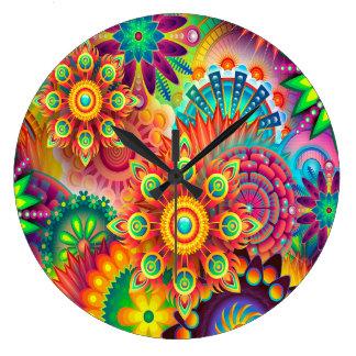 Grande Horloge Ronde Arrière - plan abstrait coloré