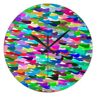 Grande Horloge Ronde Arrière - plan abstrait coloré à la mode