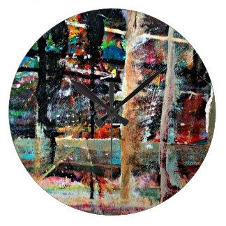 Grande Horloge Ronde Arrière - plan coloré multi d'art d'abstraction