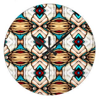 Grande Horloge Ronde Arrière - plan d'art abstrait en verre souillé