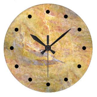 Grande Horloge Ronde Arrière - plan en pierre moderne