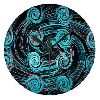 Grande Horloge Ronde Arrière - plan noir et bleu abstrait d'art