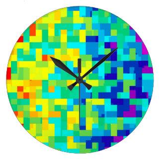 Grande Horloge Ronde Arrière - plan sans couture de motif de pixel en
