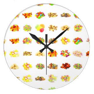 Grande Horloge Ronde Arrière - plan sans couture de motif de sucrerie