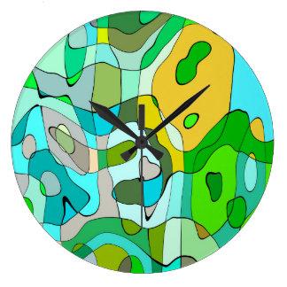 Grande Horloge Ronde Arrière - plan vert abstrait à la mode de découpe
